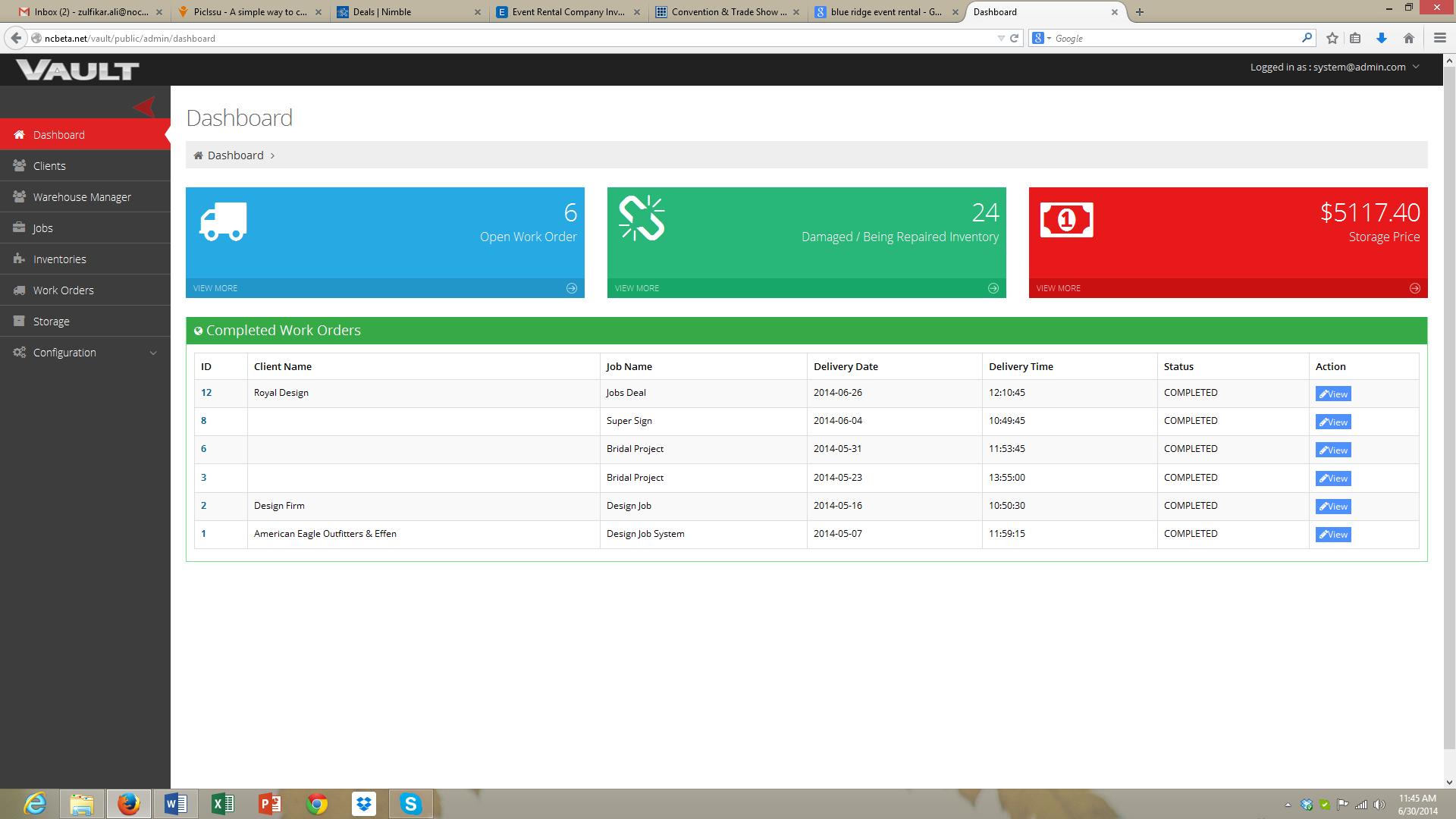 Vault Inventory Management Dashboard